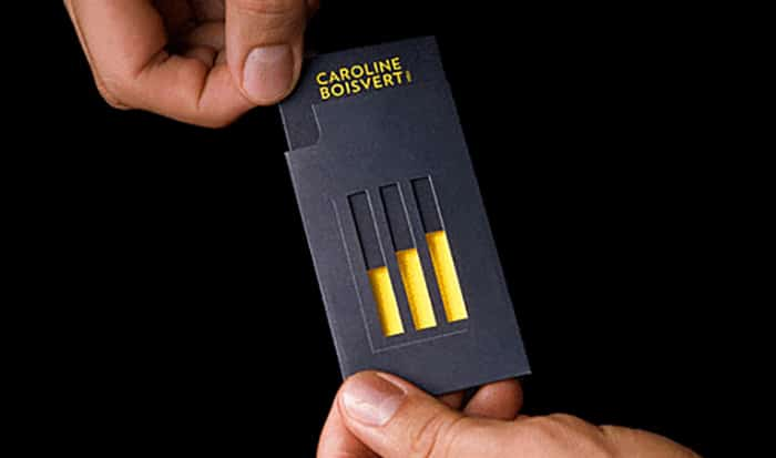 Sliding Business Cards with clever cut outs